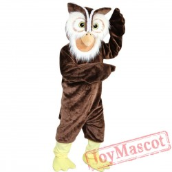 Brown Owl Mascot Costume Adult