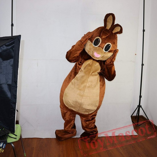 Brown Rabbit Bunny Mascot Costume Adult