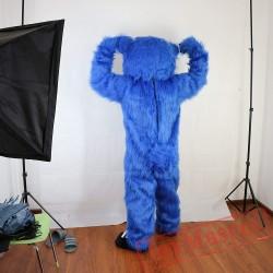 Blue Long Hairy Bear Mascot Costume Adult