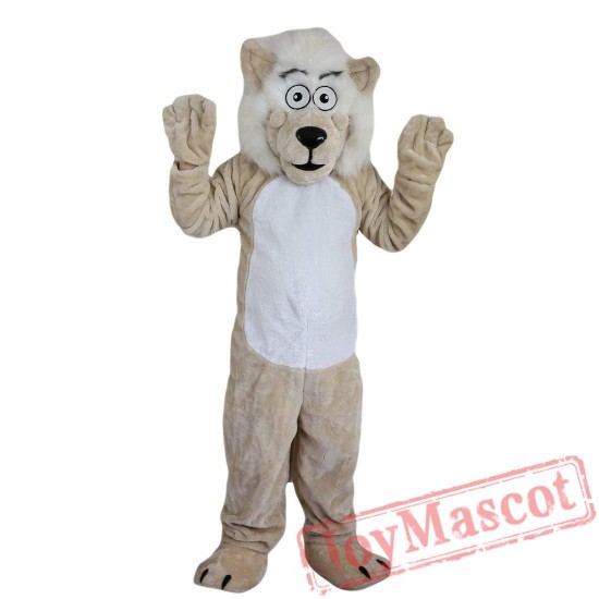 Beige Lion Beard Moustache Mascot Costume Adult