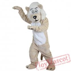 Beige Lion Beard Moustache Mascot Costume Adult