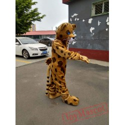 Yellow Brown Leopard Mascot Costume Adult