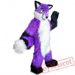 Long Hair Purple Wolf Mascot Costume Adult