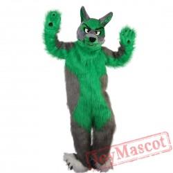 Long hair green Wolf Mascot Costume
