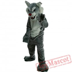 Grey Wildcat Mascot Costume