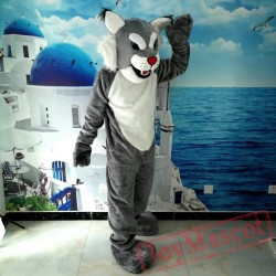 Grey Wildcat Mascot Costume