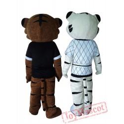 Kung Fu Judo Tiger Tigress Cartoon Mascot Costume