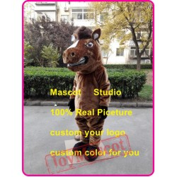 Brown Horse Mascot Costume Mustang Stallion