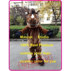 Brown Horse Mascot Costume Mustang Stallion