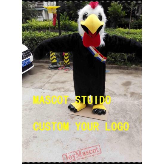 Black Rooster Mascot Costume Chicken Cock Costume