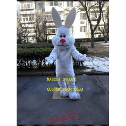 Fat Easter Rabbit Mascot Costume White Bunny