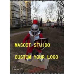 Silver Knight Mascot Costume Spartan Trojan Costume