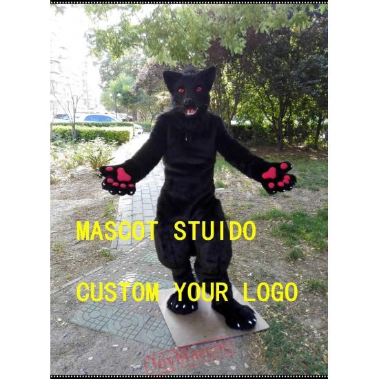 Black Wolf Fursuit Dog Fursuit Mascot Costume