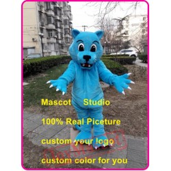 Blue Leopard Mascot Costume Blue Wildcat