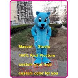 Blue Leopard Mascot Costume Blue Wildcat